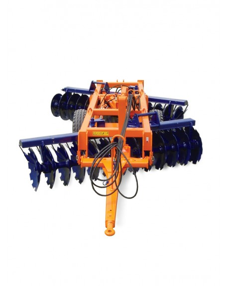"""Disc harrow towed with offest or """"v"""" wheels"""
