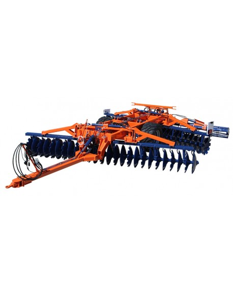 Heavy, towed, offset disc harrow with central wheels
